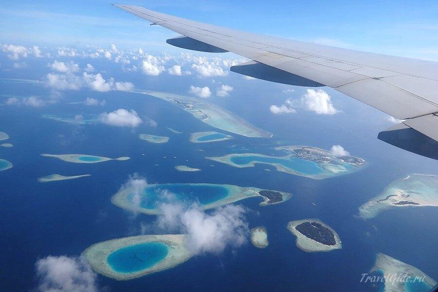 Мальдивы вид с самолёта