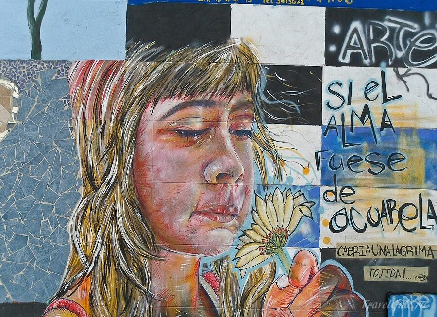 Граффити женщина с цветком